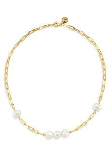 "Maison Irem 18K Gold-Plated Grace Pearl Link Necklace, 16.5"""