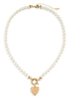 "Maison Irem Freja Cultured Freshwater Pearl Heart Pendant Necklace, 18-20"""