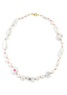 """Maison Irem Funny Pearl Quartz & Cultured Freshwater Pearl Collar Necklace, 17"""""""
