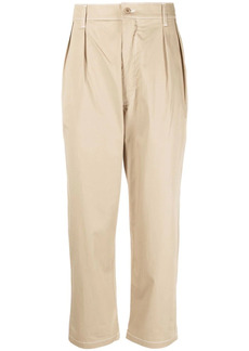 Maison Kitsuné pleated cropped tapered trousers