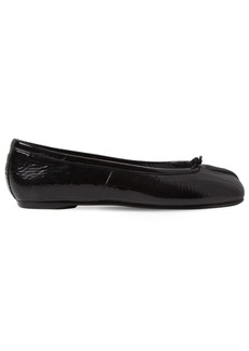 Maison Margiela 10mm Tabi Wrinkled Patent Leather Flats