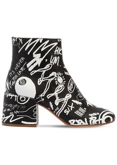 Maison Margiela 65mm Graffiti Print Leather Ankle Boots