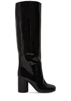 Maison Margiela 80mm Socks Patent Leather Tall Boots