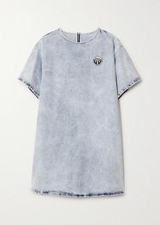 Maison Margiela Appliquéd Acid-wash Denim Mini Dress
