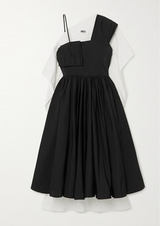Maison Margiela Asymmetric Paneled Pleated Crepe And Cotton-poplin Dress