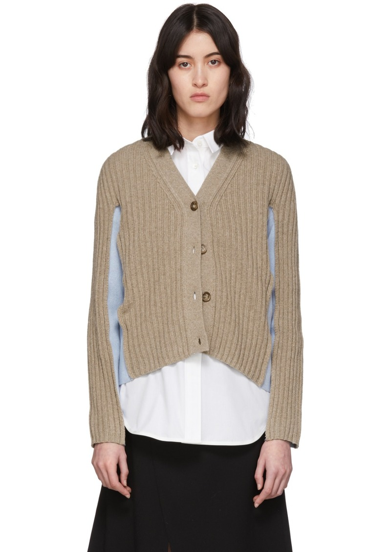 Maison Margiela Beige & Blue Shadow Cardigan