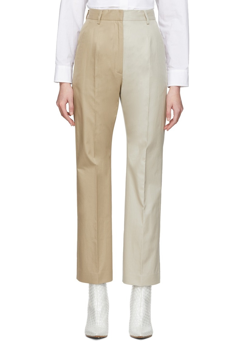 Maison Margiela Beige Two-Tone Straight Trousers