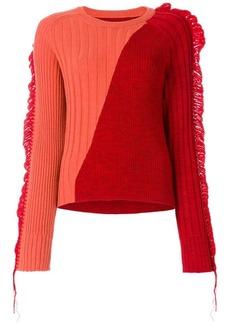 Maison Margiela bicolour fringed rib knit sweater