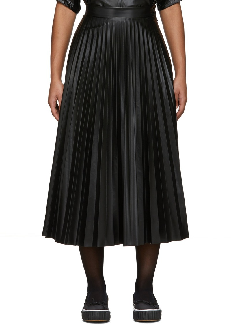 Maison Margiela Black Coated Pleated Skirt
