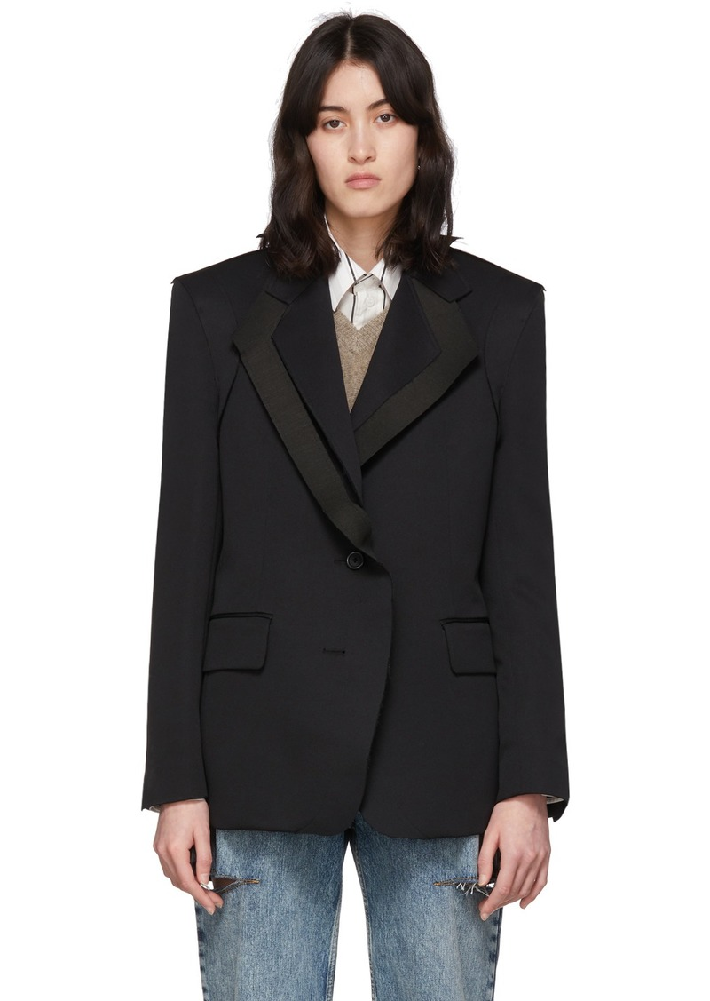 Maison Margiela Black Double Collar Asymmetric Blazer