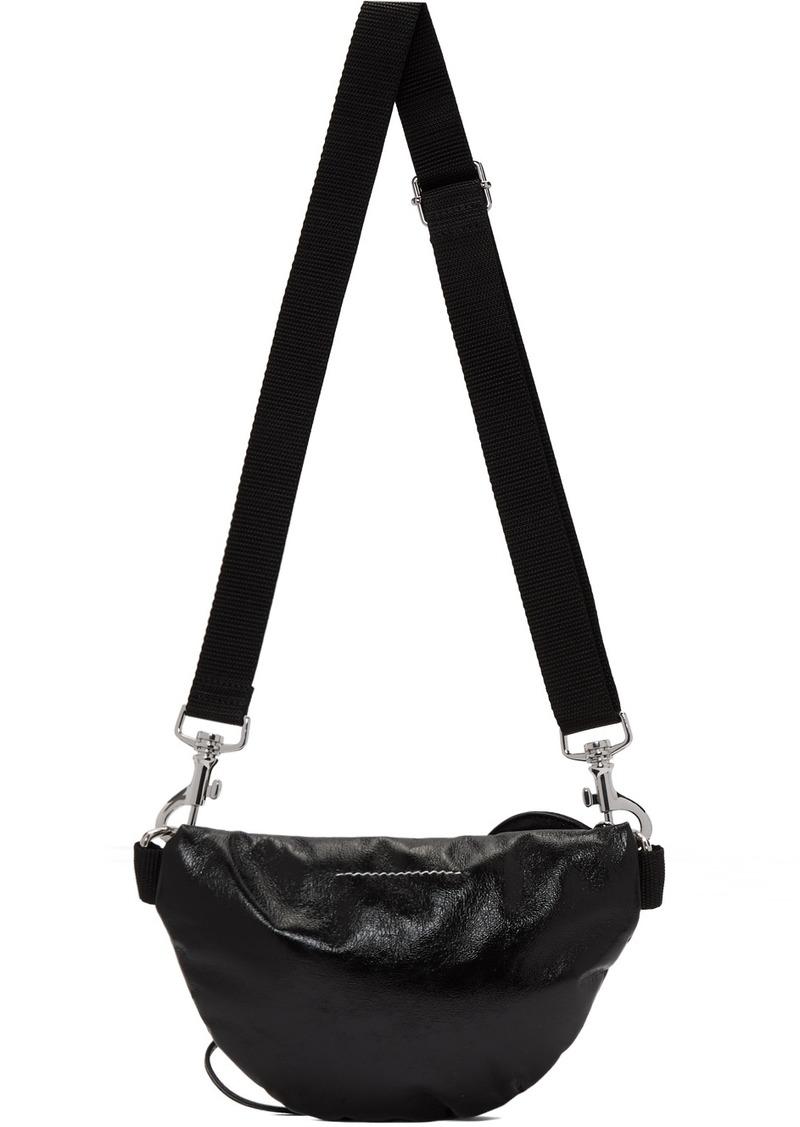 Maison Margiela Black Faux-Patent Two-Compartment Bum Bag
