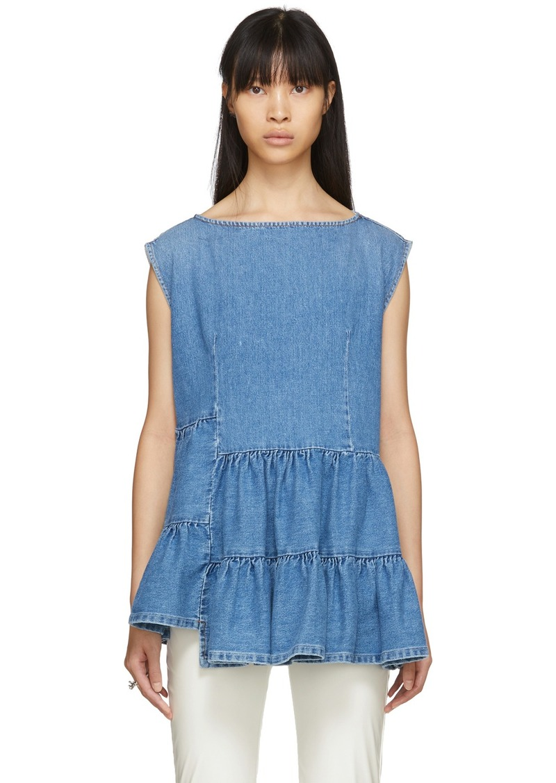 Maison Margiela Blue Denim Tiered Ruffle Blouse