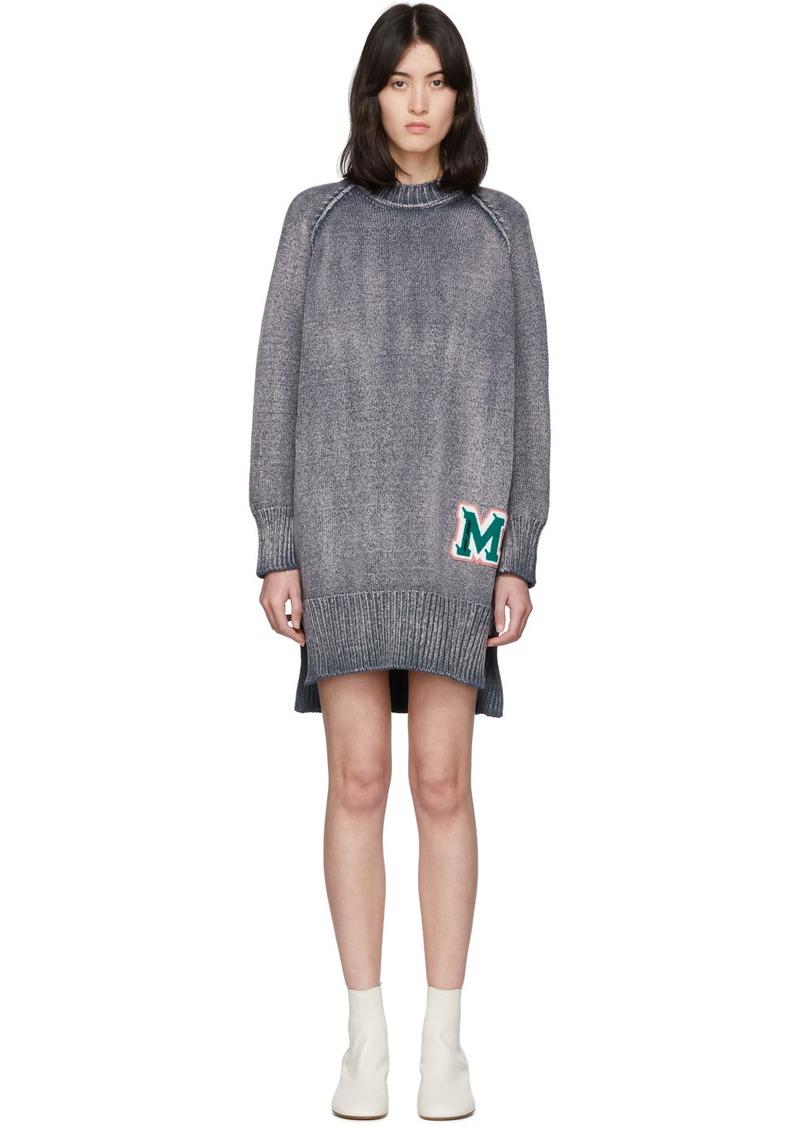Maison Margiela Blue Knit 'M' Sweater Dress