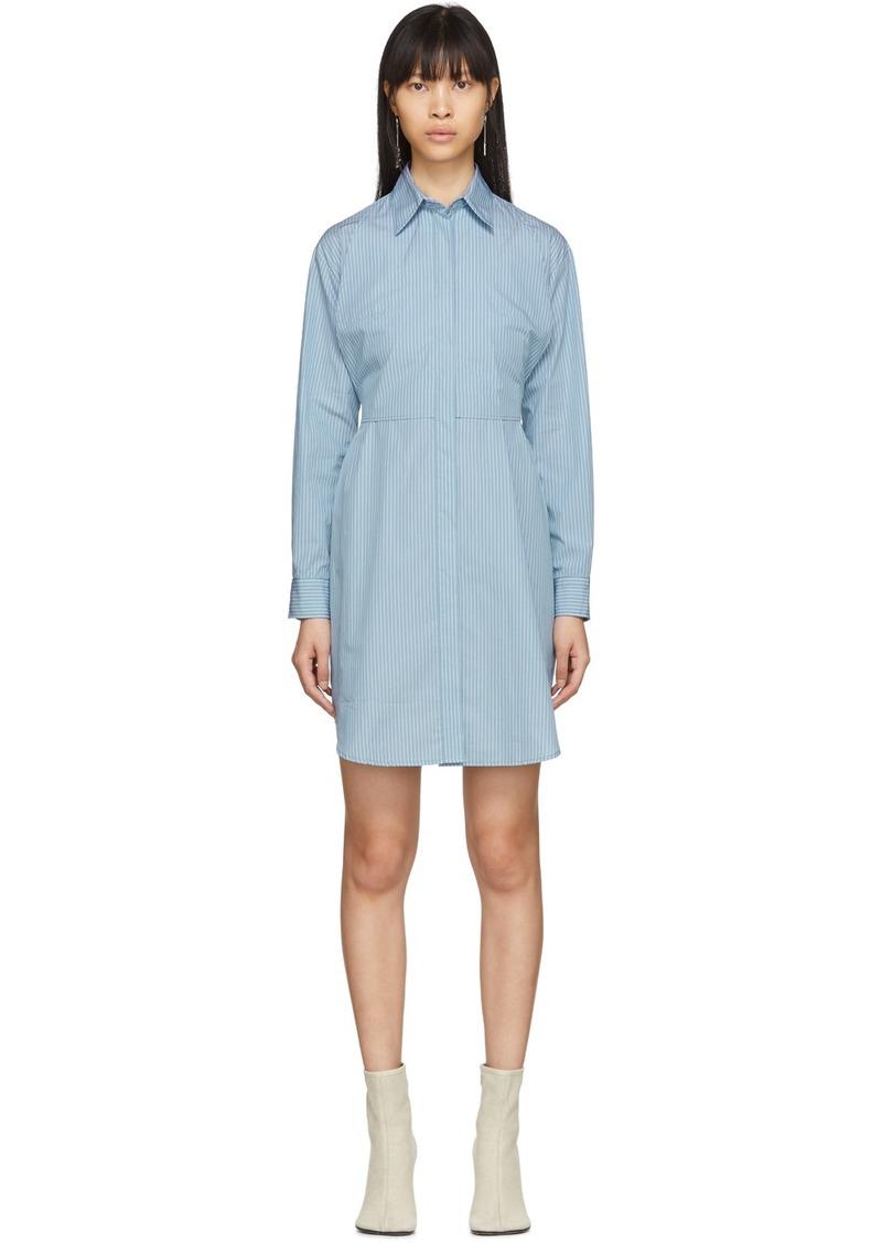 Maison Margiela Blue Striped Poplin Shirt Dress