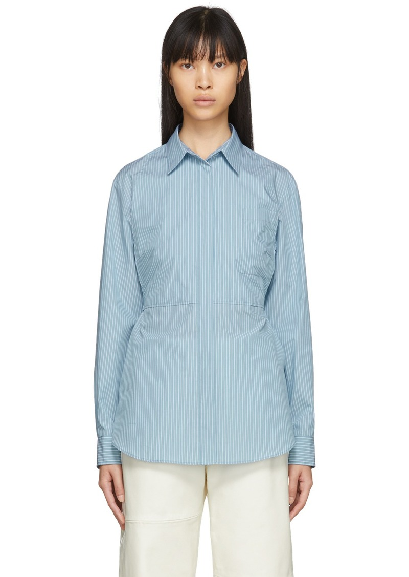Maison Margiela Blue Striped Poplin Waist-Cinching Bib Shirt