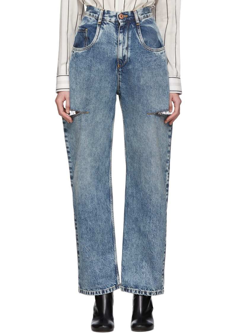 Maison Margiela Blue Thigh Slit Jeans