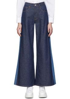 Maison Margiela Blue Two-Tone Flare Jeans