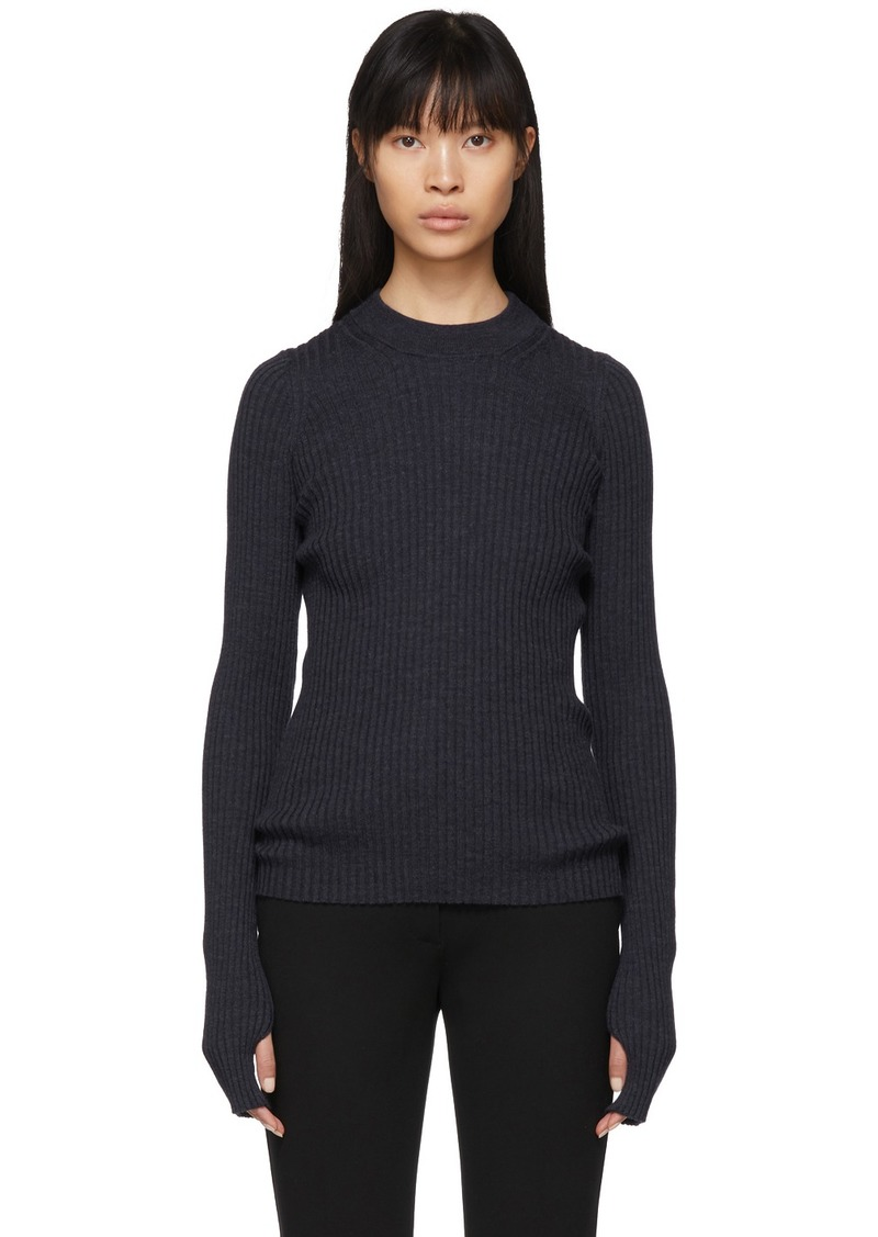 Maison Margiela Blue Wool Gauge 14 Sweater