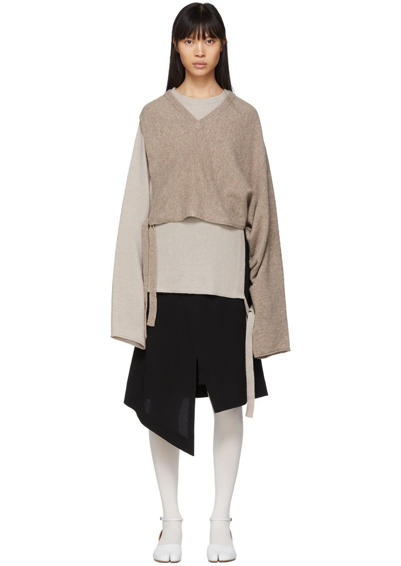 Maison Margiela Brown & Beige Wool Gauge 7 Sweater