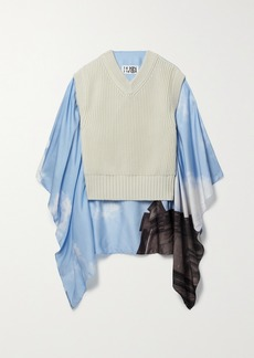 Maison Margiela Cape-effect Printed Crepe De Chine And Ribbed Cotton Sweater