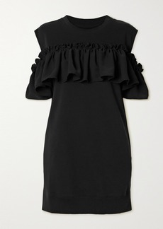 Maison Margiela Cold-shoulder Ruffled Cotton-blend Jersey Dress