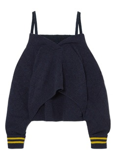 Maison Margiela Cold-shoulder Striped Wool-blend Sweater