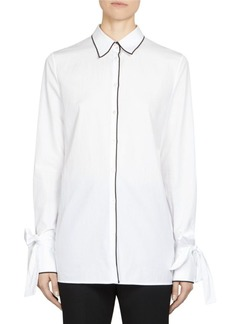 Maison Margiela Collared Poplin Bow-Sleeve Button Down Shirt