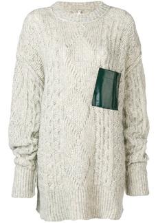 Maison Margiela contrast-patch cable knit sweater