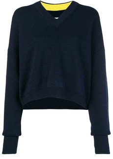 Maison Margiela contrast sleeve cropped sweater