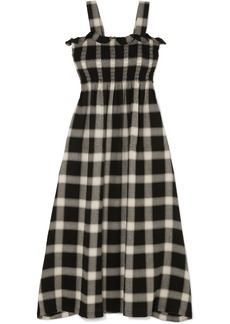 Maison Margiela Convertible Smocked Checked Flannel Dress