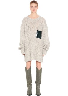 Maison Margiela Cotton Blend Loose Knit Sweater Dress