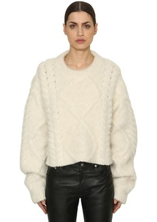 Maison Margiela Cropped Alpaca Blend Cable Knit Sweater