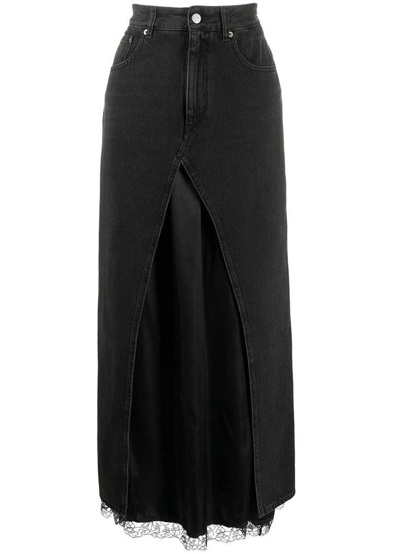 Maison Margiela denim layered long skirt