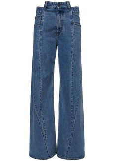 Maison Margiela Denim Wide Leg Jeans W/ Waist Detail