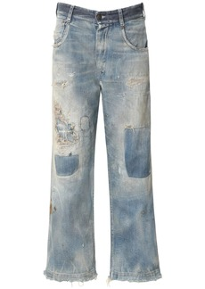 Maison Margiela Destroyed Cotton Denim Wide Leg Jeans
