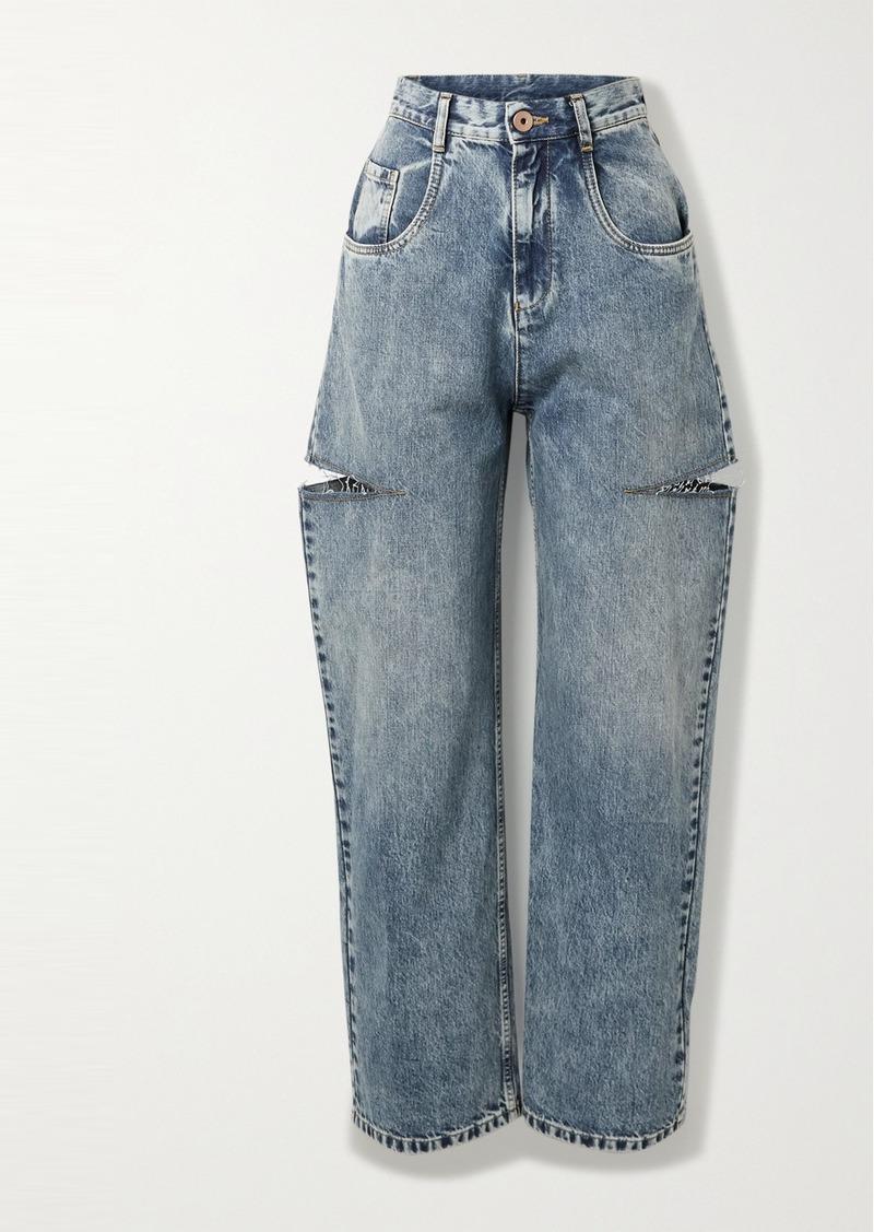 Maison Margiela Distressed High-rise Wide-leg Jeans