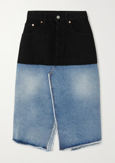 Maison Margiela Distressed Two-tone Denim Skirt