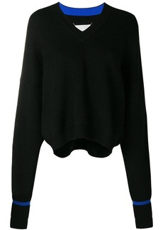 Maison Margiela elongated sleeve V-neck sweater