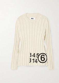 Maison Margiela Embroidered Ribbed Cotton Sweater