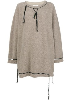 Maison Margiela fleece sequin trim dress