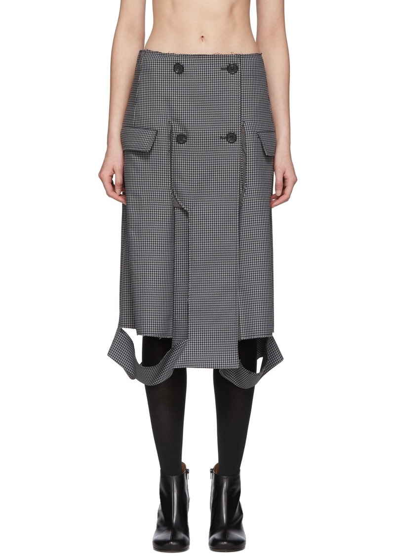 Maison Margiela Grey Houndstooth Double-Breasted Skirt