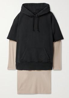Maison Margiela Hooded Layered Cotton-jersey And Matte-satin Dress