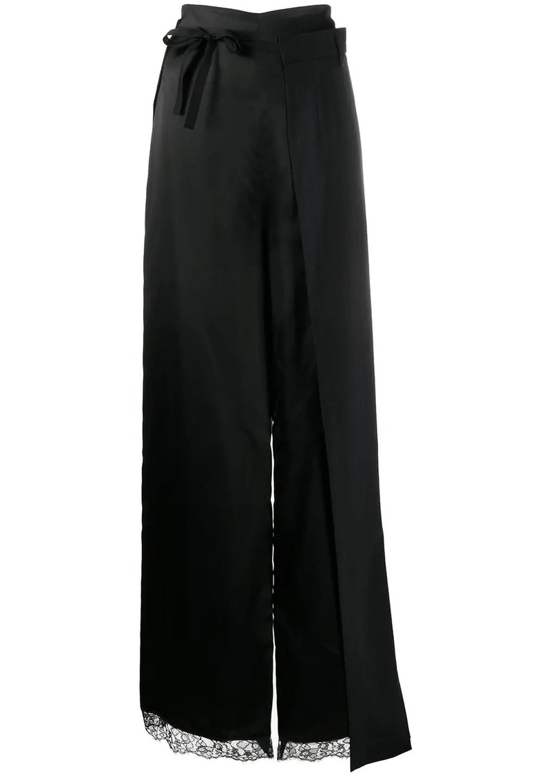 Maison Margiela lace trim layered long skirt