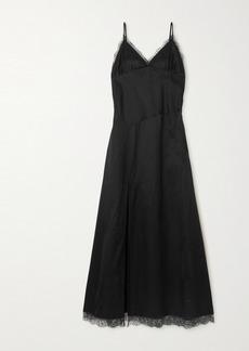 Maison Margiela Lace-trimmed Cotton-blend Satin Maxi Dress