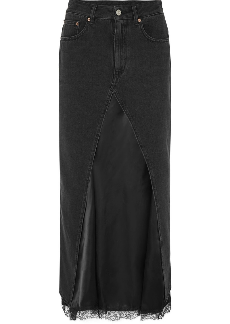Maison Margiela Layered Lace-trimmed Satin And Denim Midi Skirt