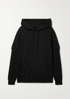 Maison Margiela Layered Ribbed-knit And Cotton-jersey Hoodie