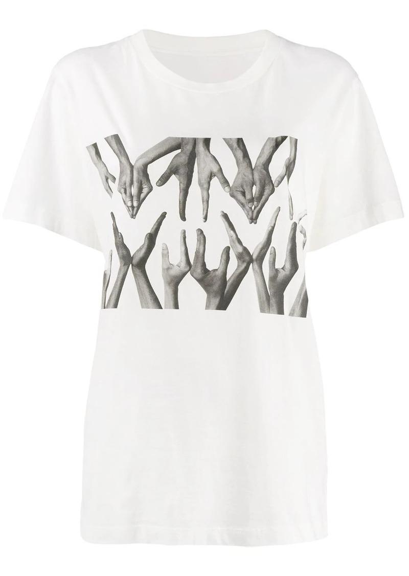 Maison Margiela logo hand print T-shirt