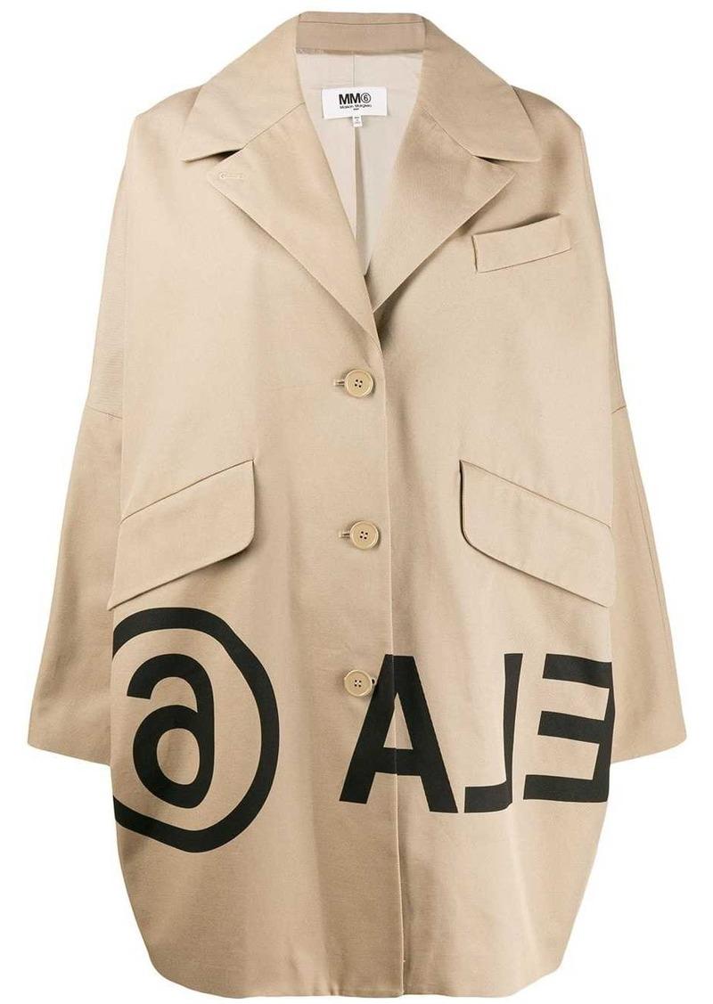 Maison Margiela logo-print cocoon coat