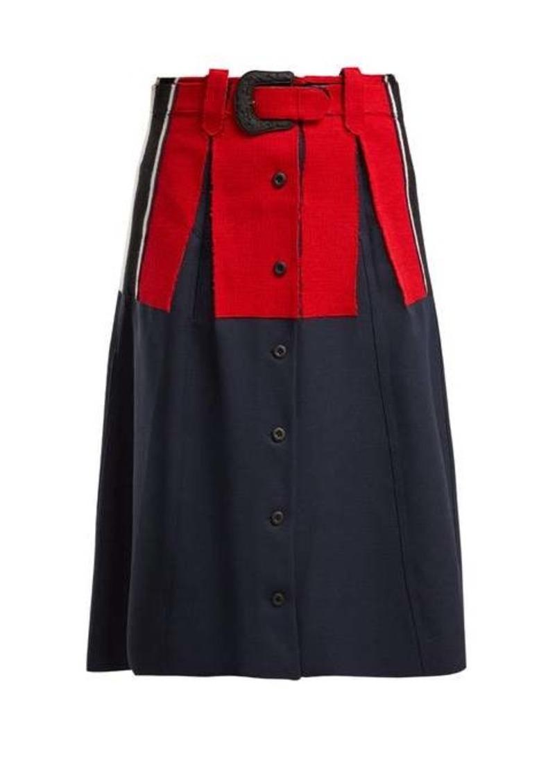 Maison Margiela Belted wool-trimmed twill skirt