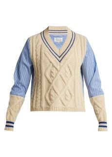 Maison Margiela Contrast panel cable-knit sweater